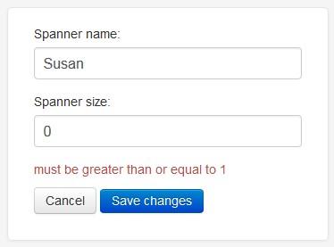 form validation message