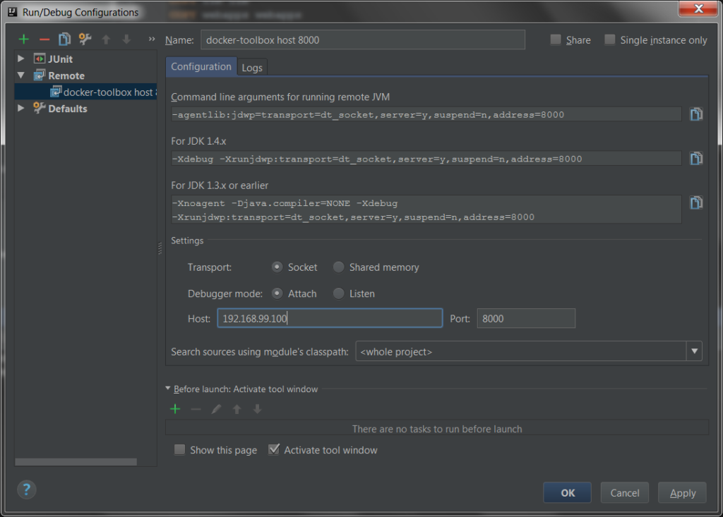 IntelliJ IDEA Run/Debug Configurations