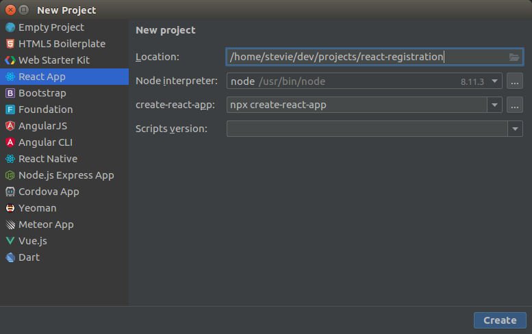 WebStorm IDE Create New Project dialog
