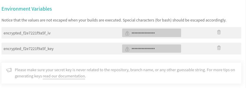 Travis CI managing encryption keys