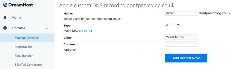 Dreamhost DNS