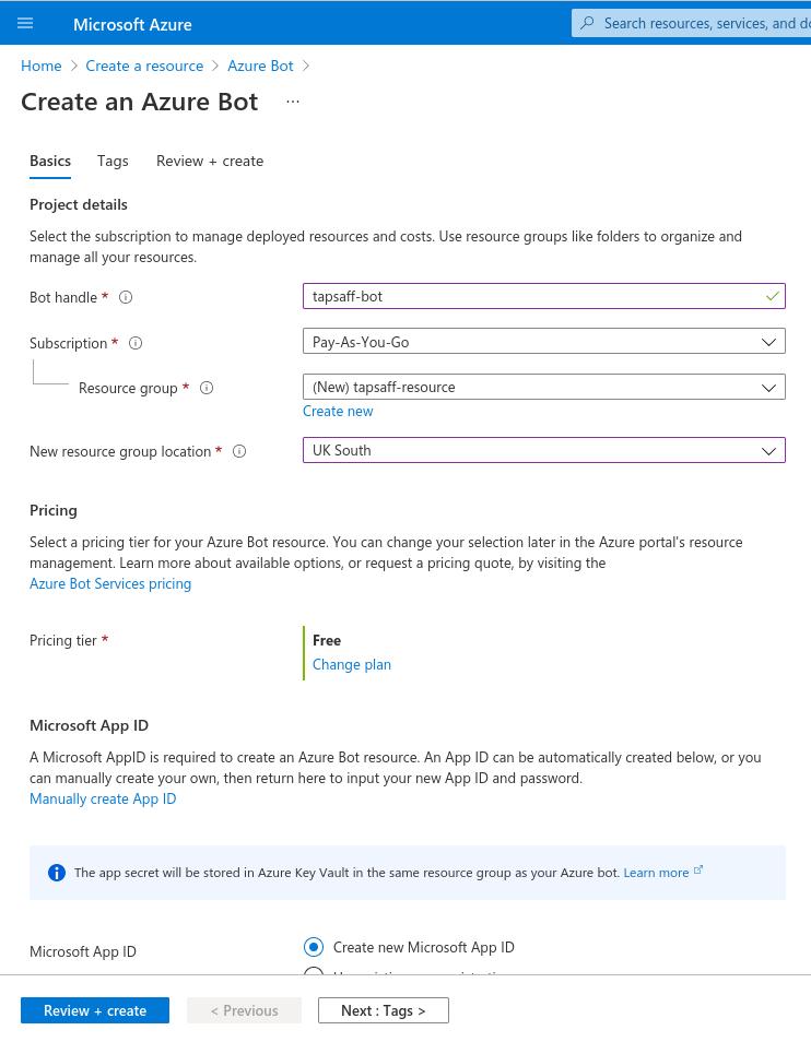 Azure portal: Create a resource > Azure Bot > Basics