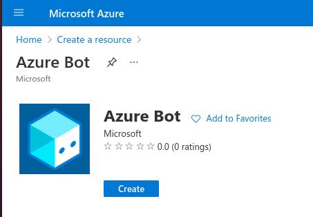 Azure portal: Create a resource > Azure Bot
