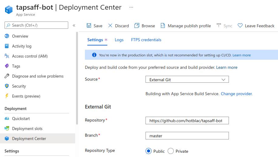 Azure App Service: Deployment Center