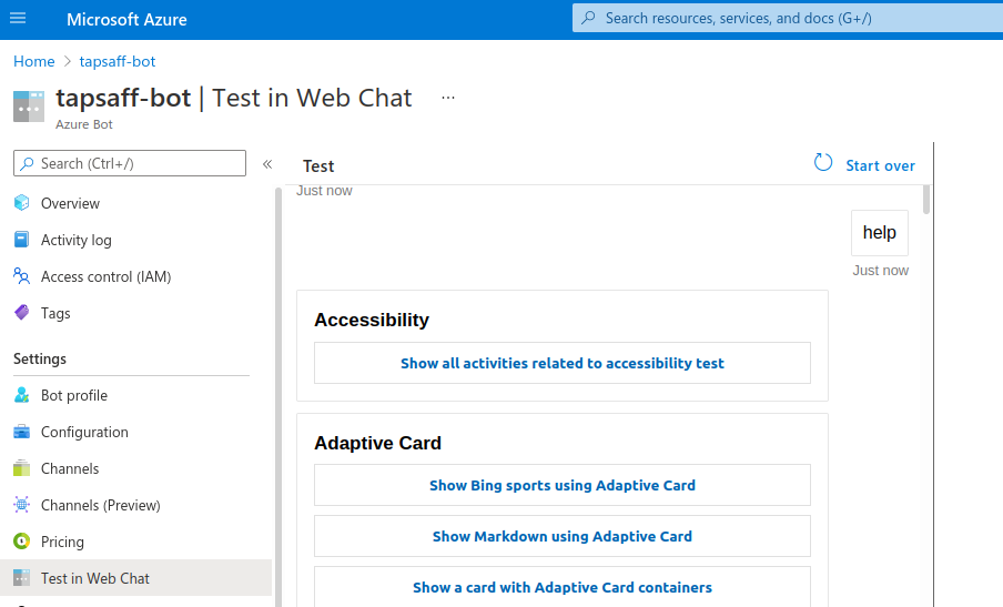 Azure portal: Azure bot Test in Web Chat