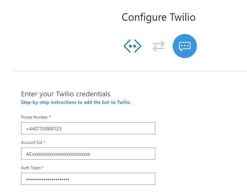Azure Twilio Channel credentials