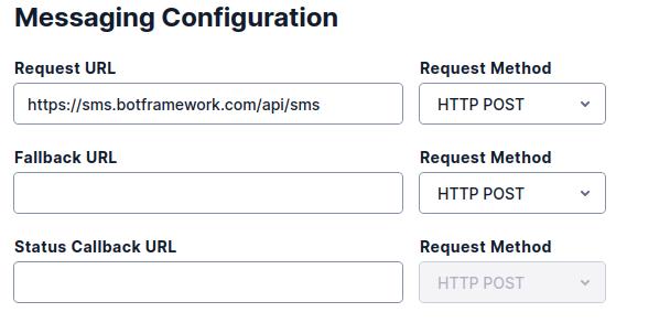 Twilio TwiML messaging configuration
